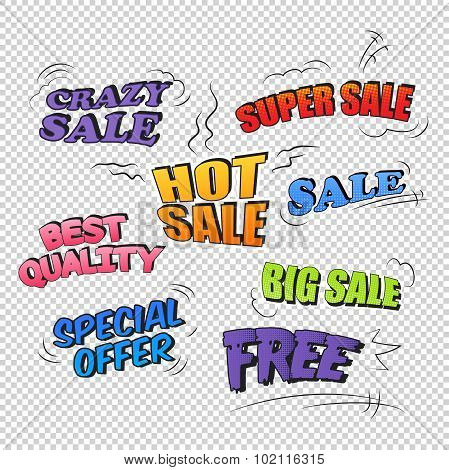Set of pop art comic sale promotion transparent backgraund