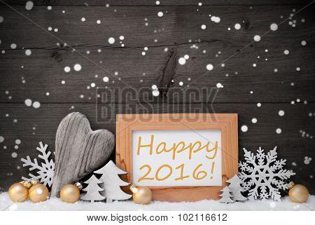 Golden Gray Christmas Decoration, Snow,Happy 2016, Snowflake