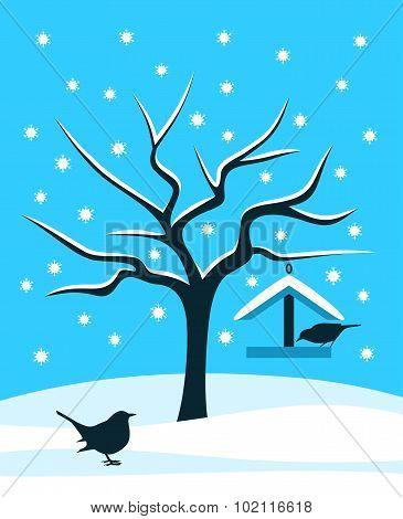 Snowy Tree And Birds