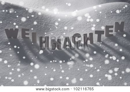White Word Weihnachten Means Christmas On Snow, Snowflakes