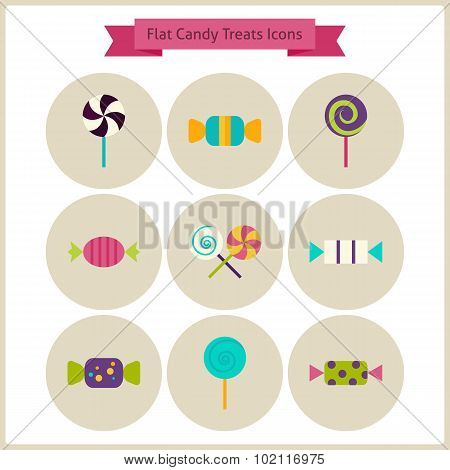 Flat Candy Sweets Treats Icons Set