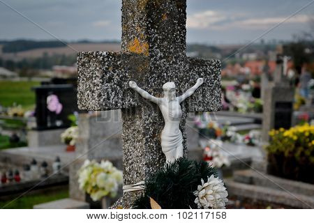 Grave / Tombstone In The Cemetery / Graveyard. All Saints Day / All Hallows / 1St November