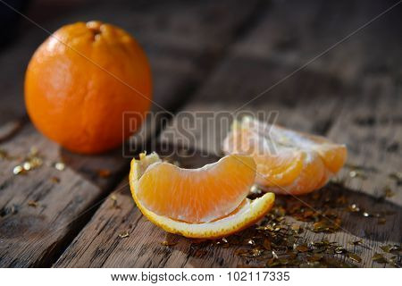 Christmas Food, Orange Fruit, Golden Glitter, Wooden Background
