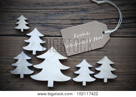 Label Trees Frohe Weihnachten Mean Merry Christmas
