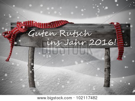 Christmas Sign Rutsch Jahr 2016 Mean New Year Snow, Snowflakes