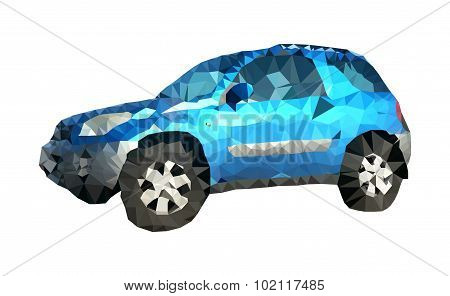 Low Polygonal Realistic Blue Suv (offroad) Car From Sideview