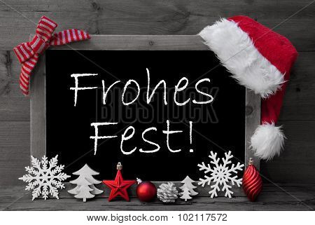 Blackboard Santa Hat Frohes Fest Means Merry Christmas