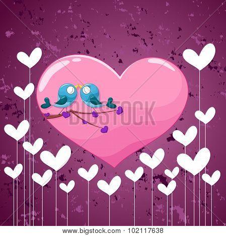 Two birds in love.Valentine's day background
