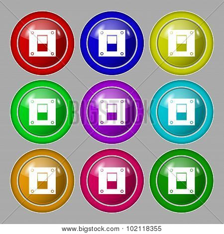Power Switch Icon Sign. Symbol On Nine Round Colourful Buttons. Vector