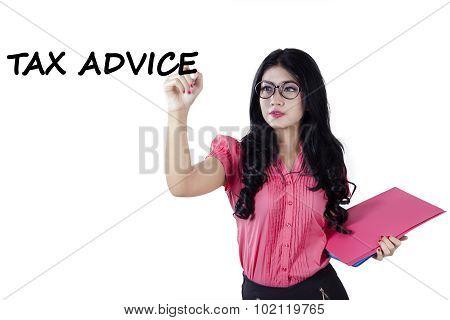 Female Worker Writes Tax Advice