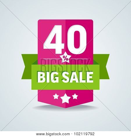 Big sale 40 percent badge with green ribbon. Vector illustration.