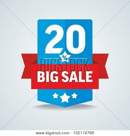 Big sale 20 percent badge with red ribbon. Vector illustration.