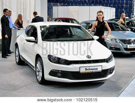 UFA, RUSSIA - JUNE 10: German motor car Volkswagen Scirocco on display at the annual Motor show
