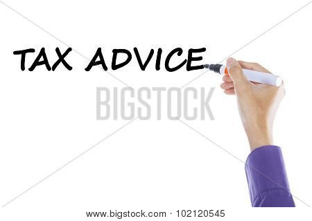 Hand Writes Tax Advice On Whiteboard
