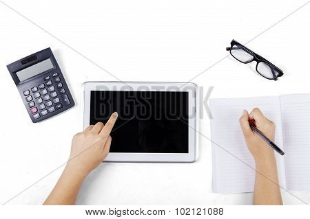 Learner Hand Touching Tablet Screen