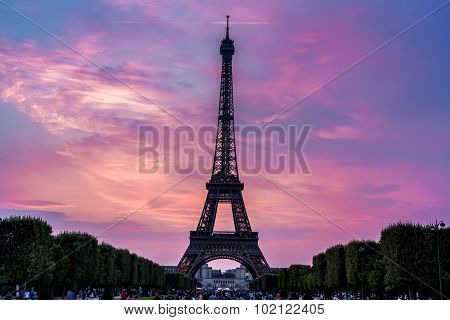 Eiffel Tower At Sunset In Paris