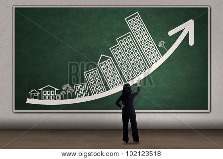 Woman Drawing Business Property Chart