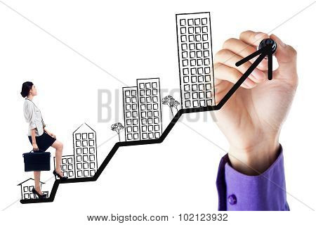 Worker Walking On The Business Property Chart