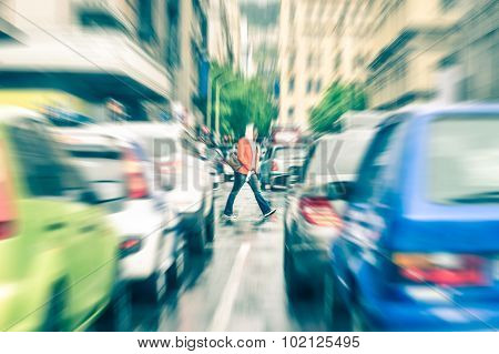 Person Crossing The Road During Rush Hour In Cape Town
