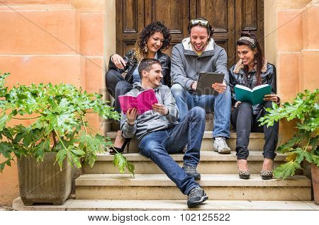 Happy Friends During A University Break