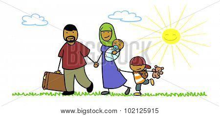 Refugee family with children seeking asylum