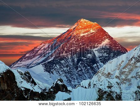 Evening Colored View Of Mount Everest From Gokyo R