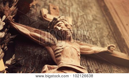 Jesus Christ Crucified (an Ancient Wooden Sculpture)