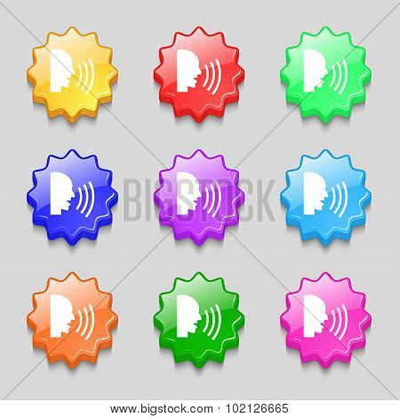 Talking Flat Modern Web Icon. Symbols On Nine Wavy Colourful Buttons. Vector