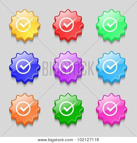 Check Mark Sign Icon. Checkbox Button. Symbols On Nine Wavy Colourful Buttons. Vector