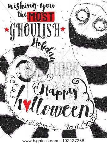 Ghoulish Halloween Greeting - Halloween poster with a cute upside-down ghoul in a huge striped hat. Hand drawn and hand written black and white illustration featuring vintage typography