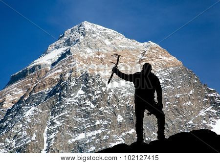 Mount Everest From Kala Patthar And Silhouette Of Man