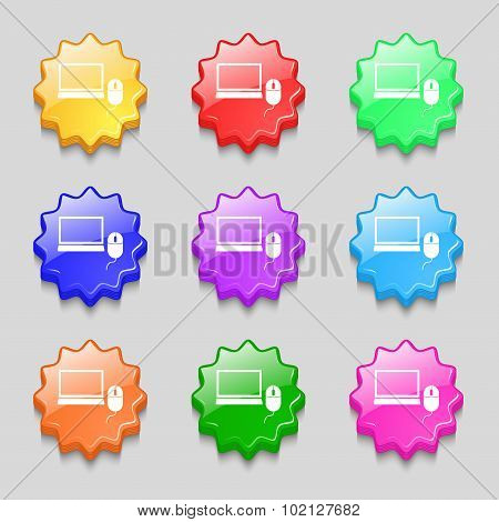 Computer Widescreen Monitor, Mouse Sign Icon. Symbols On Nine Wavy Colourful Buttons. Vector