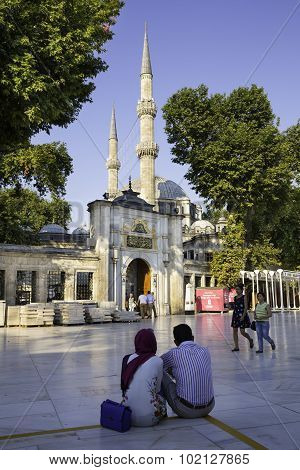 Tourists And Turkish People Walking Near The Eyup Sultan Mosque
