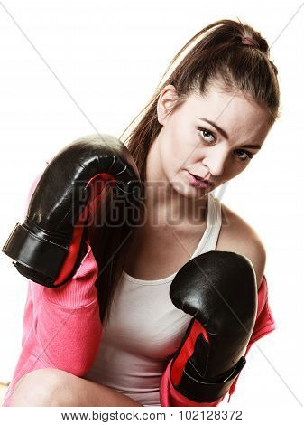 Fit Woman Boxing Isolated On White.
