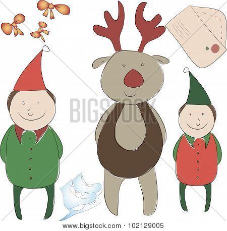 Set Of Elements For The New Year Or Christmas Decor. Santa's Helper Elf And Rudolph Reindeer, Bows F