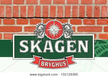 Skagen brewery logo on wall