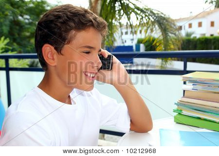 Boy Teen Talking Mobile Phone Smiling Student