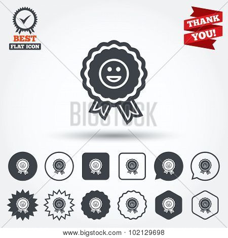 Award smile icon. Happy face symbol.