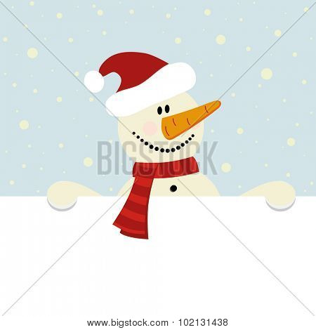vector christmas illustration of happy snowman