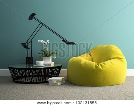 Part of interior with yellow beanbag 3d rendering