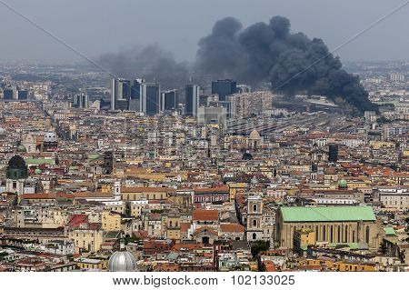 Fire In The Downtown Of Naples, Italy