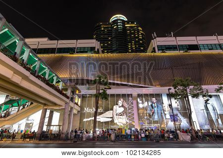 BANGKOK, THAILAND, DECEMBER 25, 2014 : Night View in the Ratchadamri street in the Ratchaprasong district near Central World, Bangkok, Thailand