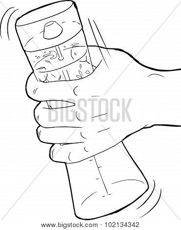 Outlined Hand And Salad Dressing