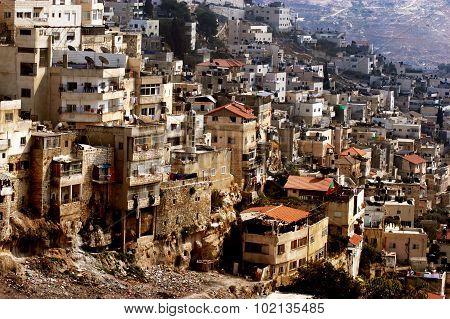 Cityscape of Silwan Arab neighborhood in Jerusalem Israel.