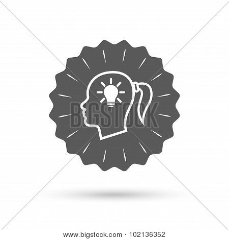 Head with lamp bulb sign icon. Female woman head