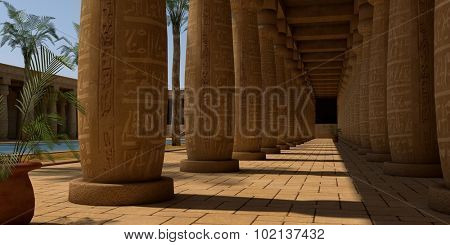 egypt temple patio with columns