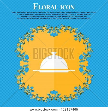 Food Platter Serving Sign Icon. Table Setting In Restaurant Symbol. Floral Flat Design On A Blue Abs