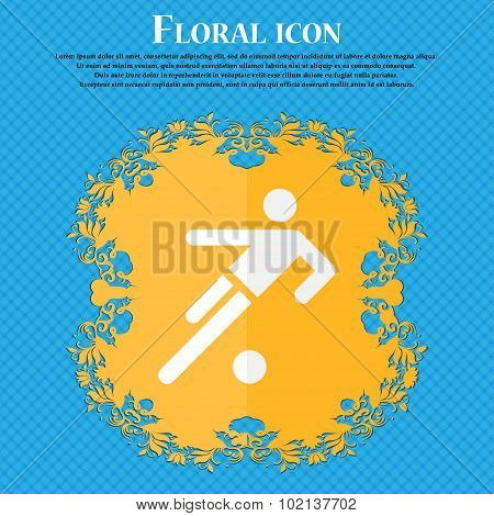 Football Player Icon. Floral Flat Design On A Blue Abstract Background With Place For Your Text. Vec