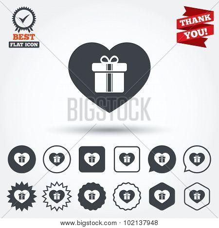 Gift box sign icon. Love Present symbol.