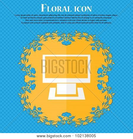 Computer Widescreen Monitor Sign Icon. Floral Flat Design On A Blue Abstract Background With Place F